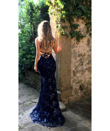 Navy Blue Sequins Mermaid Prom Dresses Cheap Sexy Women Prom Gowns 2019 - $32.88
