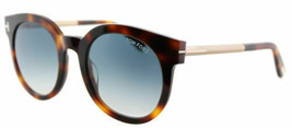 Tom Ford Men Rounded Sunglasses TF0435 52P Havana Frame Blue Gradient Lens - $138.59