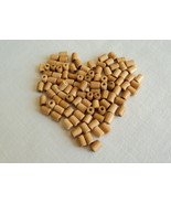 """200 Craft Natural Light Finish Wood Tube Beads -3/8"""" Wide 1/4"""" Long Free... - $8.00"""