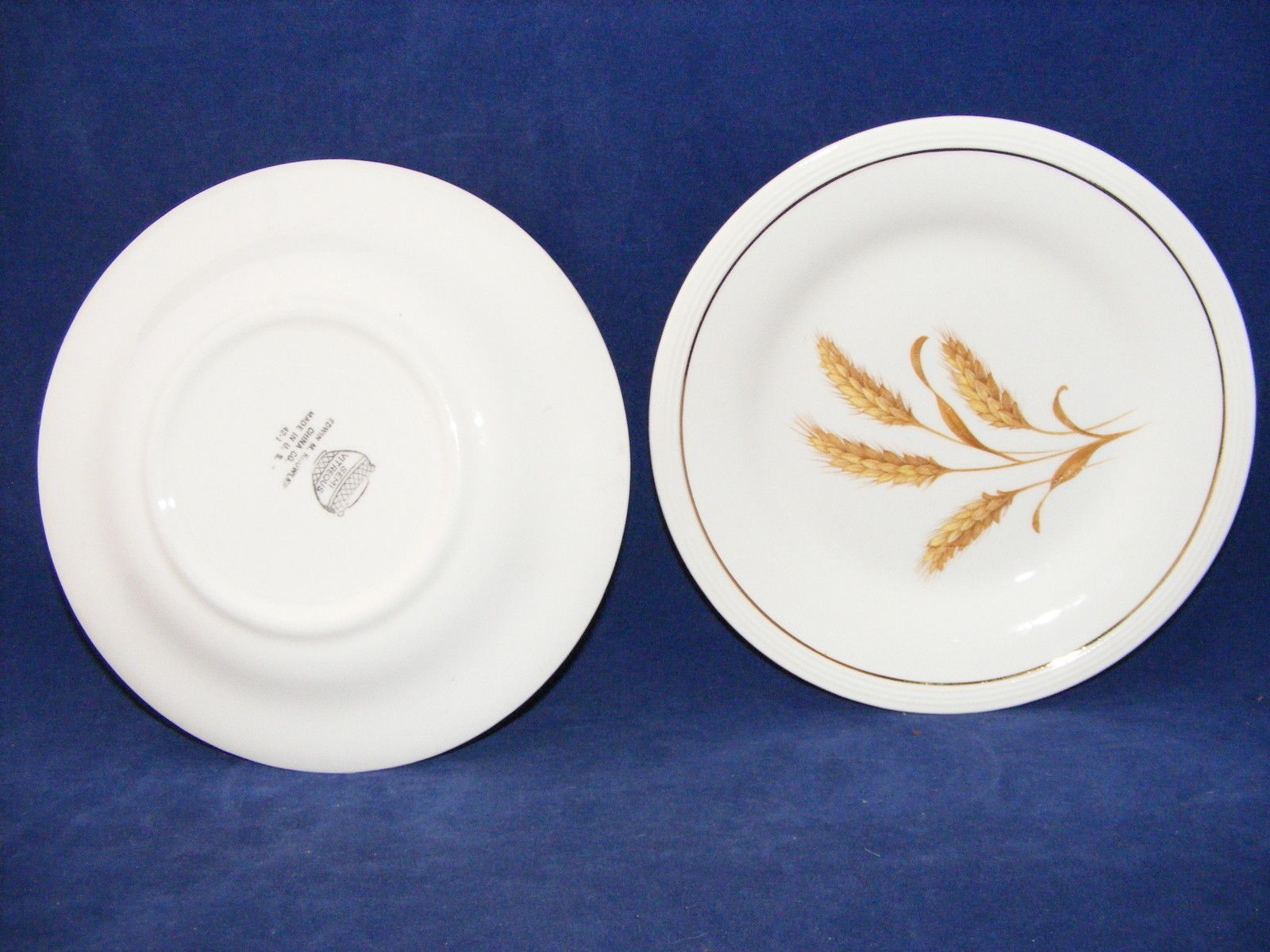 ... 2 Knowles Gold Wheat 6 3/8  Bread Plates Semi Vitreous China & 2 Knowles Gold Wheat 6 3/8