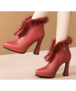 Cute hairy bootie with fringe, square heel, 8 cm heels, US size 4-8.5, b... - $68.80