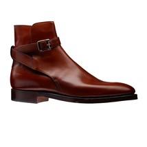 Handmade Men's High Ankle Monk Strap Leather Jodhpurs Boots image 5