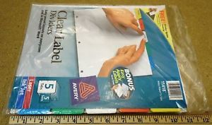 Avery 11406 Clear Label Dividers 5 Tabs 5 Sets