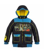 Disney Store Boys Star Wars Comic Zip Front Hooded Winter Jacket, Black,... - $35.02