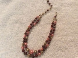 "Vintage 13"" Shades Of Browns & Gold Pink Plastic Beaded Necklace - $12.00"