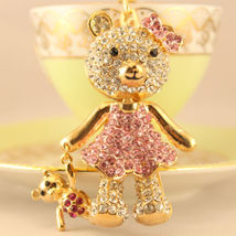 Pink Baby Bear Fashion Keychain Rhinestone Crystal Pet Cute Animal Gift ... - $18.17