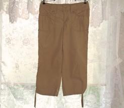 Izod Drawstring Capris 4 Khaki Tan Brown Cropped Pants EUC - $8.98