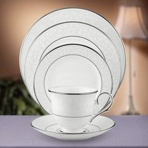 "LENOX ""OPAL INNOCENCE"" DINNERWARE SET/4 FINE BONE CHINA MADE IN USA SILV... - $88.90"