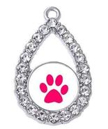 Dog Charm - Oval Paw with Crystals Jewelry Silver-tone dog pawprint char... - $4.90