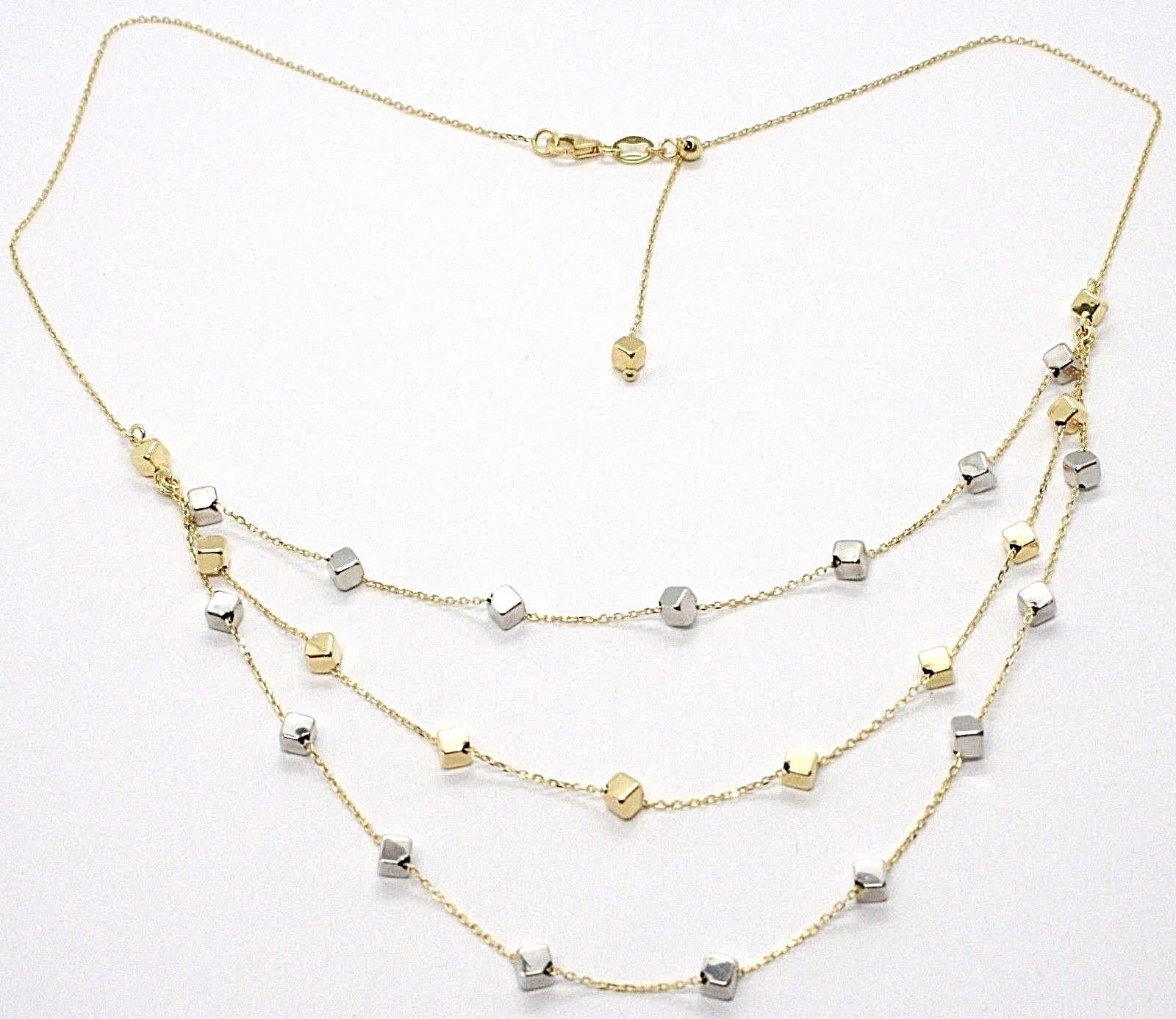 18K YELLOW WHITE GOLD STRAND NECKLACE, MULTI THREE WIRES WITH CUBES, ITALY MADE