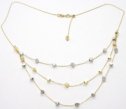 18K YELLOW WHITE GOLD STRAND NECKLACE, MULTI THREE WIRES WITH CUBES, ITALY MADE image 1