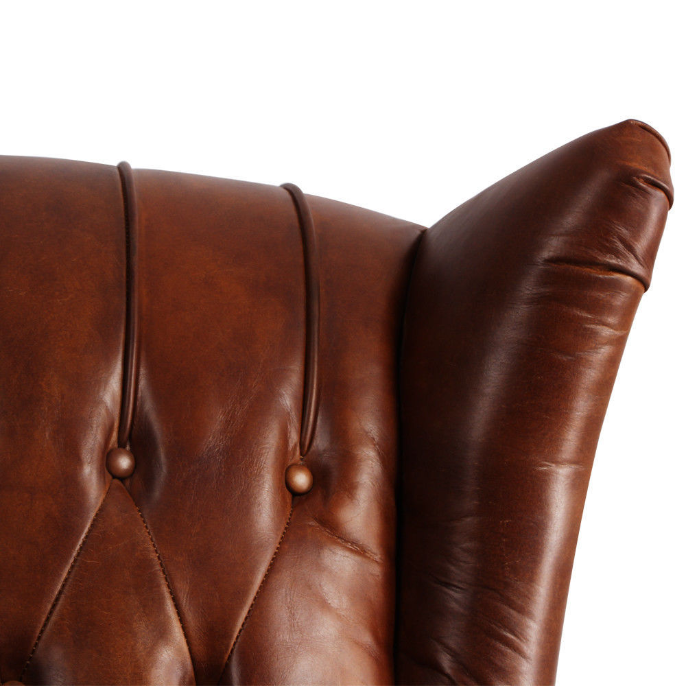 MarquessLife 100%Genunie Leather Handmade Tufted High Wing Back Sofa Armchair image 5