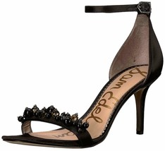 Sam Edelman Platt Black Satin Heels Ankle Strap Shoes Size 6 M - $59.39