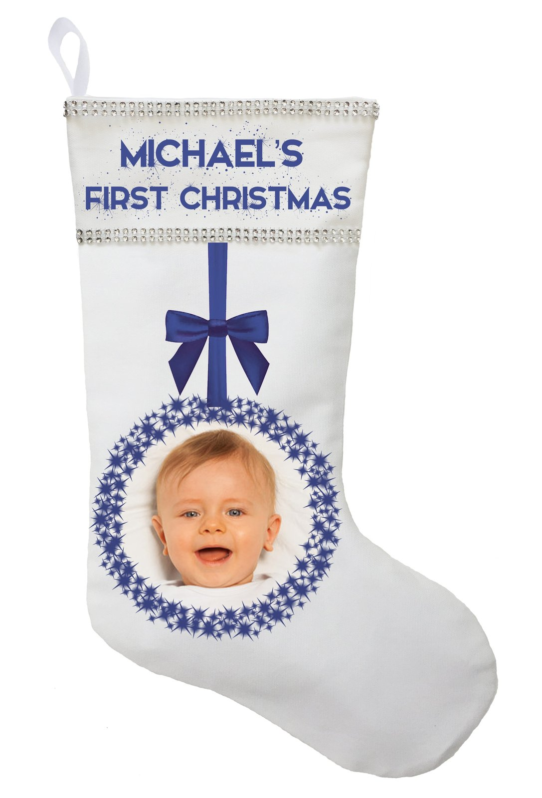 First Christmas Stocking with Photo - Personalized and Hand Made image 2