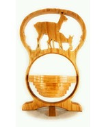Handmade Collapsible Wooden Bowl Candy Dish With Deer And Fawn Scrolled ... - $23.13