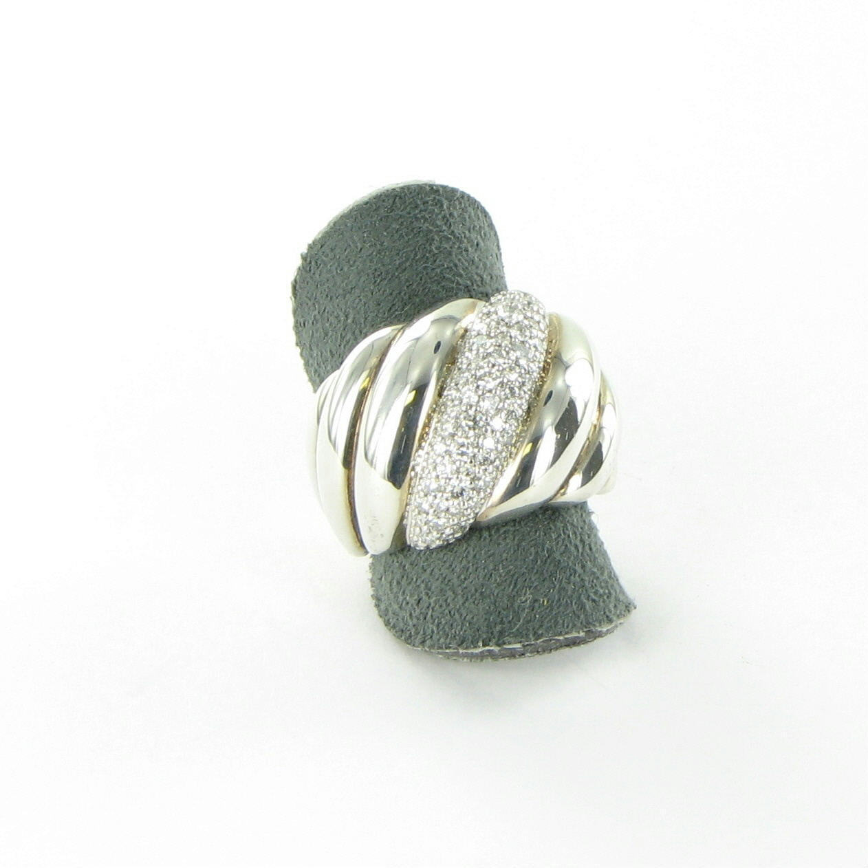 David Yurman Hampton Diamond Ring 0.78cts Sterling Silver 18mm Sz 7 New $2400