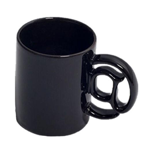 @ MUG SHAPED HANDLE BLACK WHITE CERAMIC 3D COFFEE TEA DRINK IT MAIL NOVELTY NEW