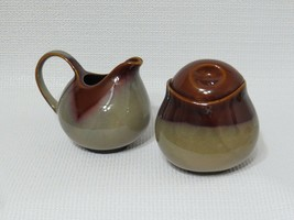 Sango Nova Brown Sugar with Lid & Creamer Glazed Stoneware Pottery - $31.57