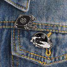 2PCS/SET Hand With Crystal Ball Magical Book Pin Set Brooch Enamel pin Badge Bac - $3.99