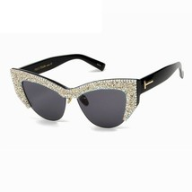 e85d60208ee NEW Oversized Cat Eye Rhinestone Half Frame Sunglasses Women Fashion Sha...  -  18.80