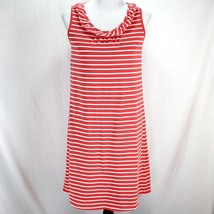Hanna Andersson Knit Dress Sz S Red White Stripe Sleeveless Cotton Ruffl... - $24.99
