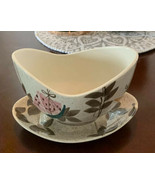 Red Wing Pottery Tampico Pattern GRAVY BOAT W/ATTACHED PLATE - $39.55