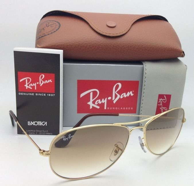 New Ray-Ban Sunglasses RB 3362 COCKPIT 001/51 59-14 Arista Gold w/Brown Gradient