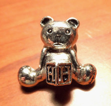 """Mini TEDDY BEAR Broach Pin letter """"H"""" Silver tone Pewter? Tie Tack size ... - $12.86"""
