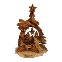 "Christmas nativity scene natural olive wood Handmade Bethlehem 4.3""/11 cm - $15.99"