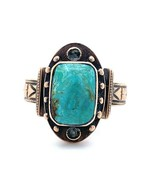 Victorian 10k Yellow Gold Turquoise Ring Wide Cigar Band (#J5188) - $594.00