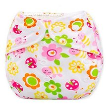 2 Pcs Waterproof Flower Pattern Paw Leak Proof Breathable Infant Baby Diaper