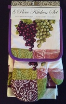 PURPLE GRAPES KITCHEN SET 5-pc Potholders Oven Mitt Towels Wine Grape Vi... - $19.99