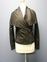 VINCE Dark Brown Soft Leather Long Sleeves Shawl Collar Solid Jacket Sz M DD7940 - $257.35