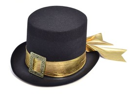 Top Hat, Black with Gold Belt, Fancy Dress Hat, Accessory - $8.54 CAD