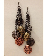 Mixed Metal Chain Beaded Earrings Brass Copper Silver Handmade Dangle Pierced - £28.77 GBP