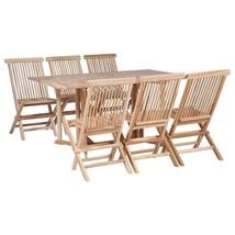 vidaXL Solid Teak Folding Dining Set 7 Piece Drop Leaf Table Chairs Outdoor - $450.99