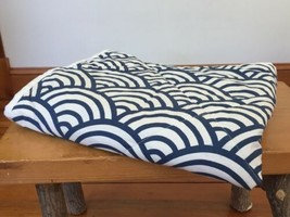 Pottery Barn PB Teens Blue White Cotton Geometric Wave Shingle Pillow Sham Cover - $1,000.00
