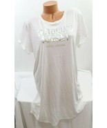 Victoria's Secret Sweet Dreams Sleep Tee Shirt, White Silver Foil - $11.53+