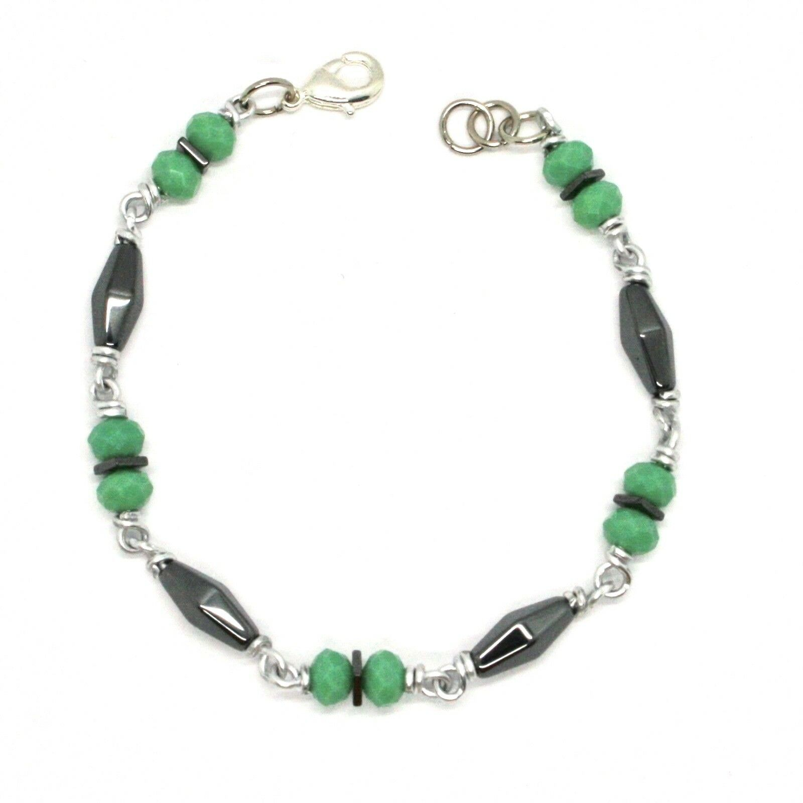 Bracelet the Aluminium Long 19 Inch with Hematite and Crystal Green