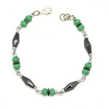 Bracelet the Aluminium Long 19 Inch with Hematite and Crystal Green image 1