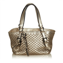 Pre-Loved Burberry Gold Others Leather Weaved Metallic Tote Bag Italy - $359.04