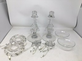 Heisey Glass  #1445 Grape Cluster Candlesticks With Bobeche And Epergne 1935-44 - $168.30