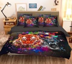 3D Tiger Wolf Paint 26 Bed Pillowcases Quilt Duvet Single Queen King US Summer - $102.84+