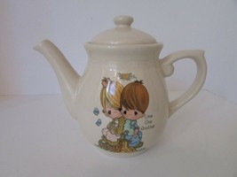 PRECIOUS MOMENTS STONEWARE TEAPOT LOVE ONE ANOTHER ENESCO 1994 IVORY COL... - $15.79