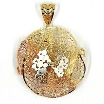 18K YELLOW WHITE ROSE GOLD FLOWER, ONDULATE, FINELY WORKED GRID BIG PENDANT image 3