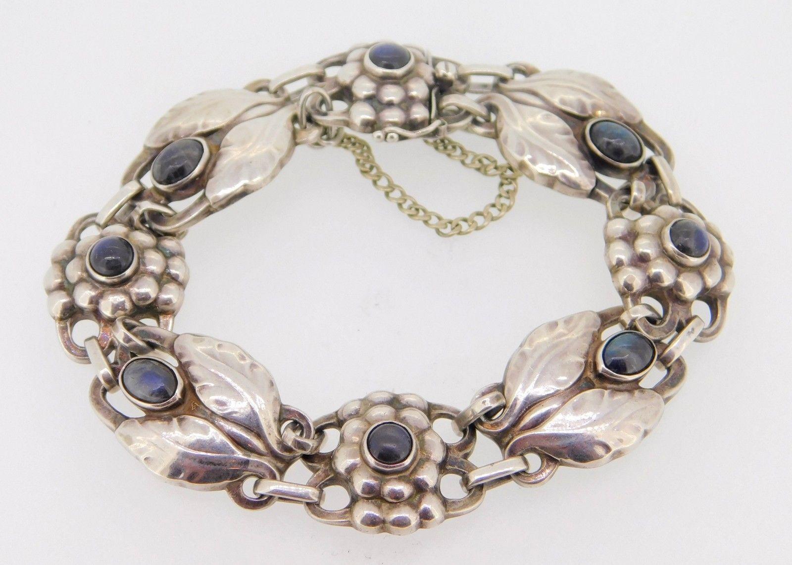 Georg Jensen Sterling Silver Bracelet #3 with Labradorites (#J3966)