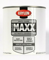 1 Can Krylon 32 Oz Cover Maxx 9627 Gloss White In & Outdoor Acrylic Late... - $22.99