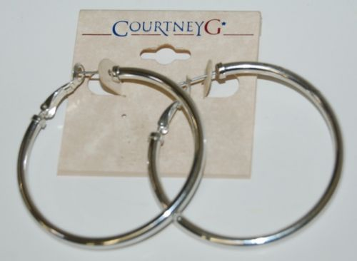 Courtney G Brand Medium Sized Silver Color Hoop Earrings With Post Backs