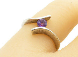 925 Sterling Silver - Vintage Petite Amethyst Bypass Band Ring Sz 6 - R1... - $22.48