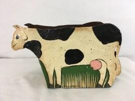 Vtg Hand Made Sheet Metal Holstein Cow Rustic Farm Décor Planter - $28.71